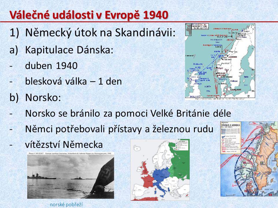 Válečné události v Evropě 1940 Německý útok na Skandinávii: