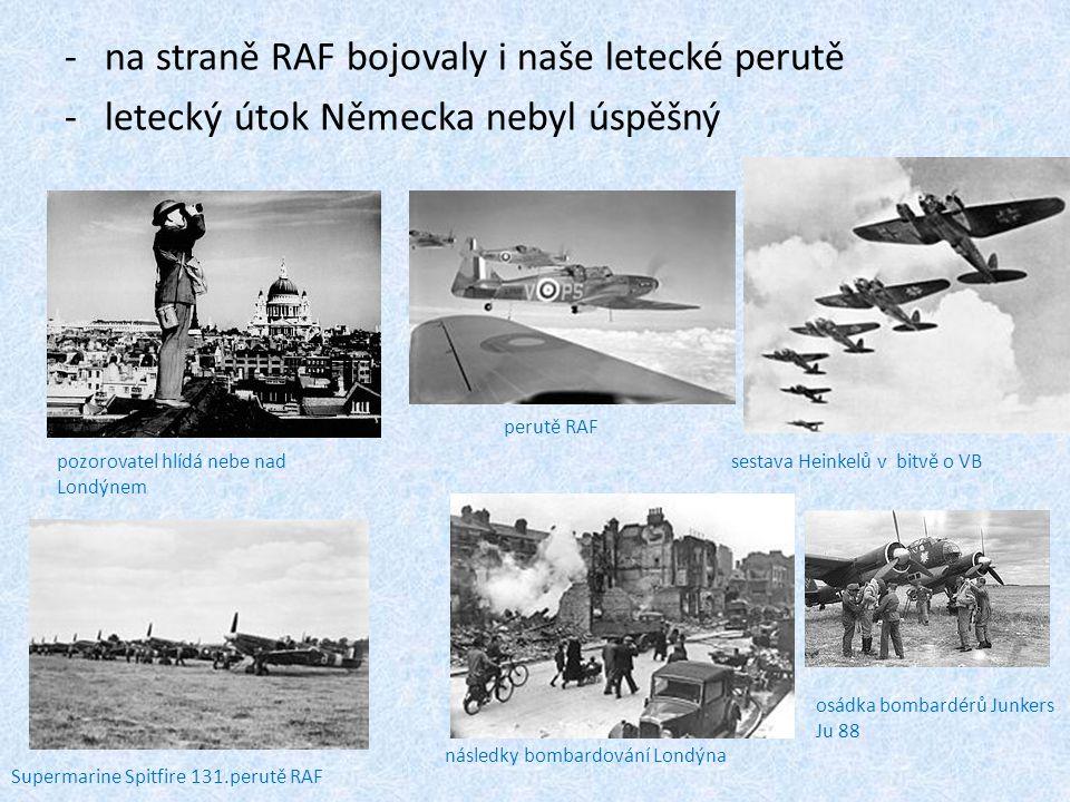 na straně RAF bojovaly i naše letecké perutě
