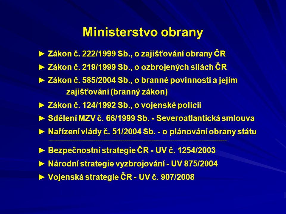 Ministerstvo obrany ► Zákon č. 222/1999 Sb., o zajišťování obrany ČR