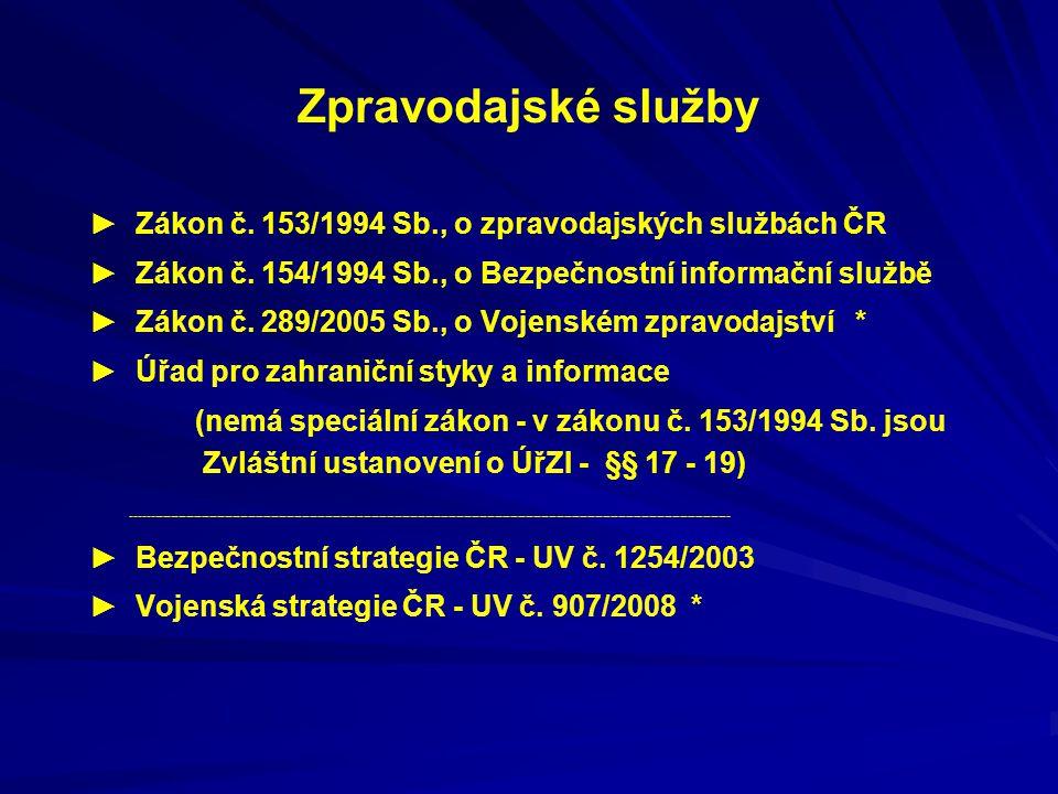 Zpravodajské služby ► Zákon č. 153/1994 Sb., o zpravodajských službách ČR. ► Zákon č. 154/1994 Sb., o Bezpečnostní informační službě.