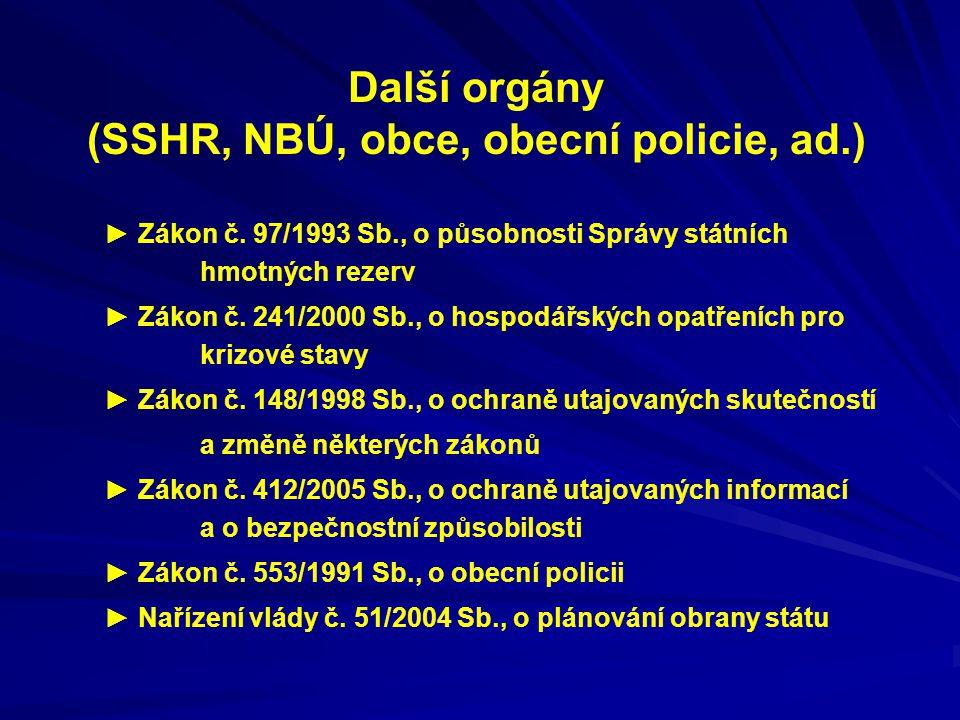 Další orgány (SSHR, NBÚ, obce, obecní policie, ad.)