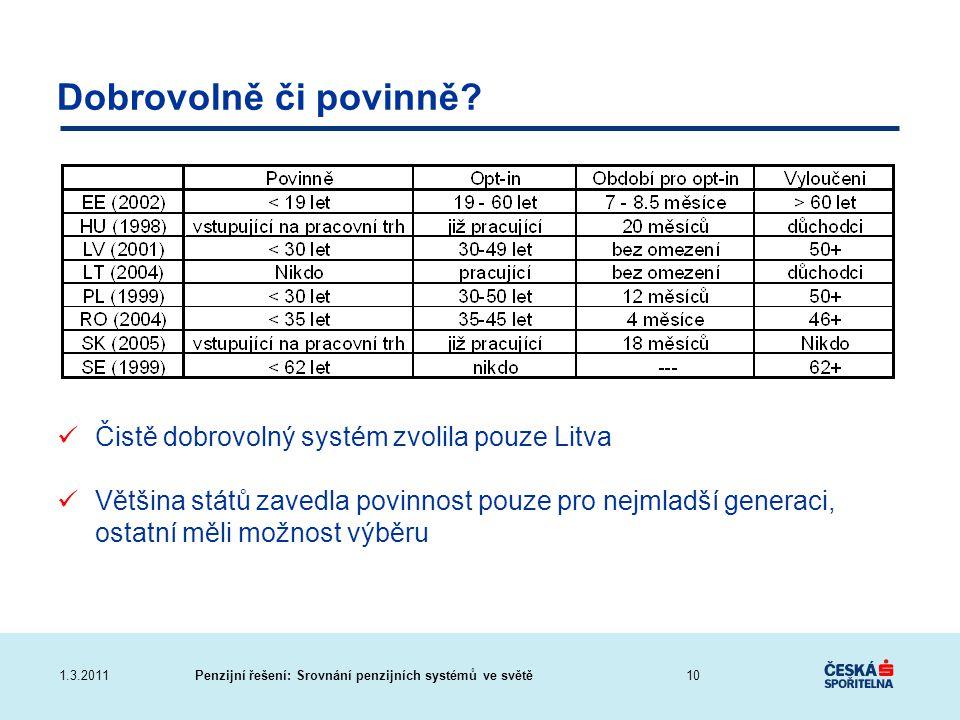 Dobrovolně či povinně Čistě dobrovolný systém zvolila pouze Litva