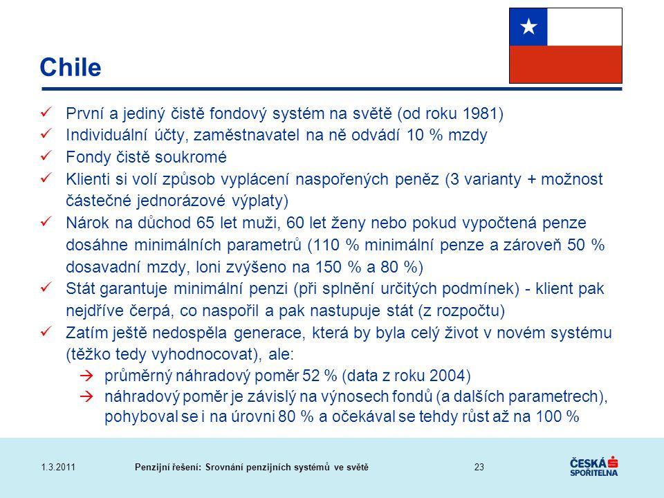 Chile První a jediný čistě fondový systém na světě (od roku 1981)