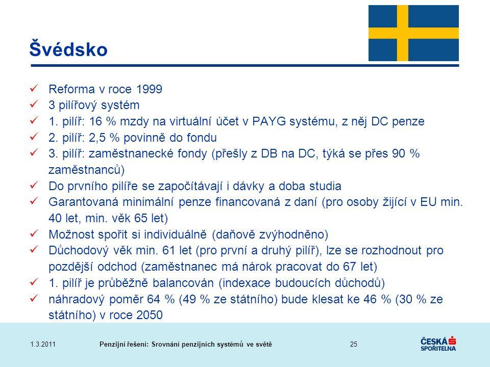 Švédsko Reforma v roce 1999 3 pilířový systém