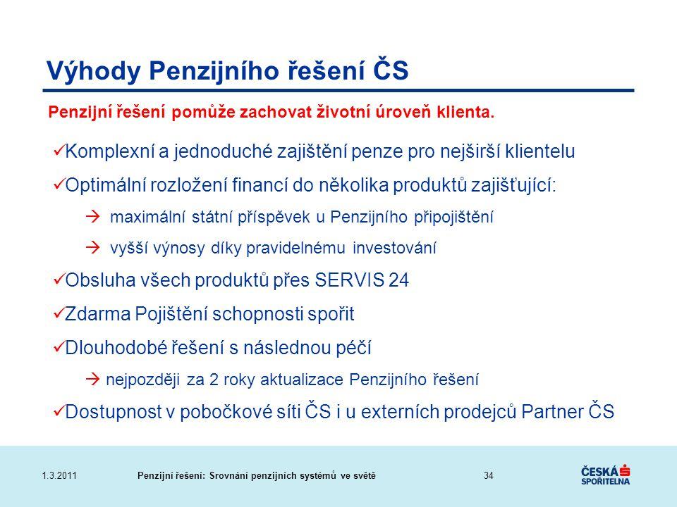 Výhody Penzijního řešení ČS
