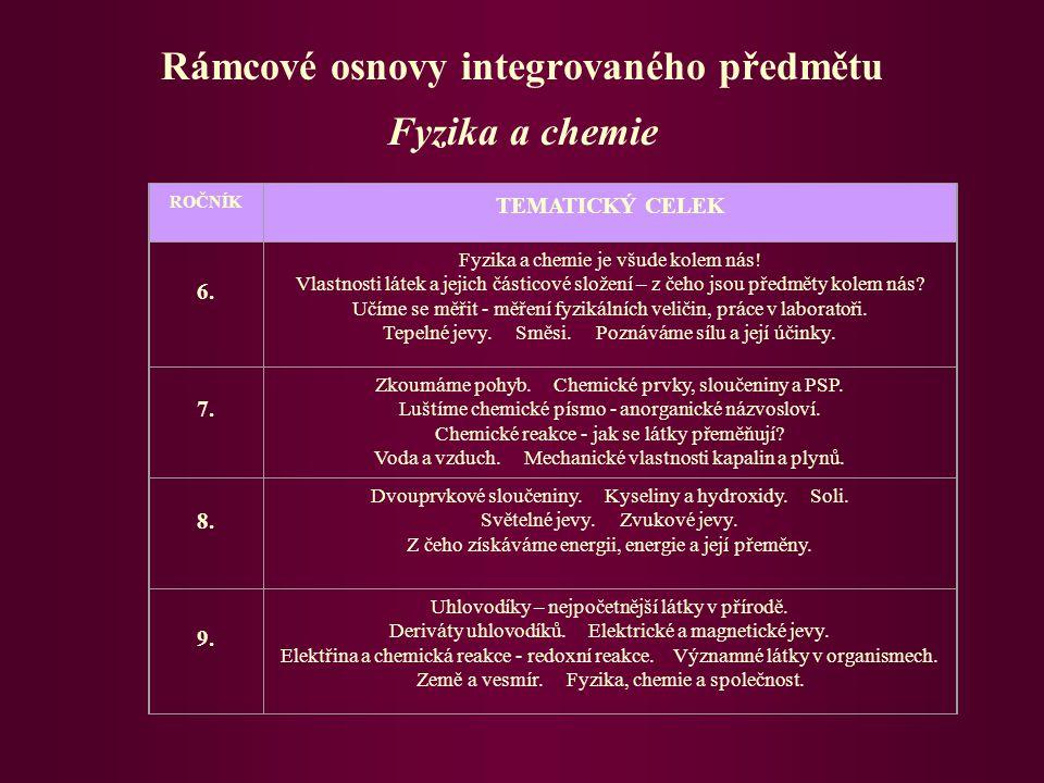 Rámcové osnovy integrovaného předmětu Fyzika a chemie