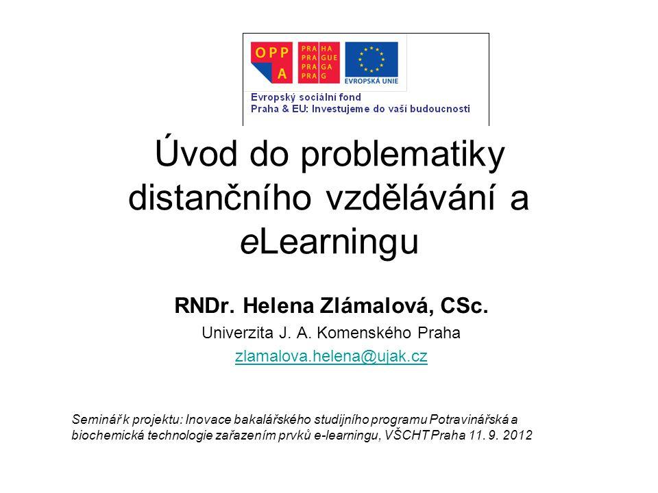 Úvod do problematiky distančního vzdělávání a eLearningu