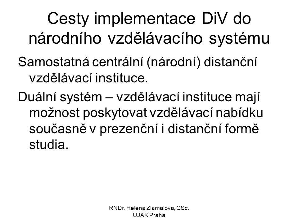 Cesty implementace DiV do národního vzdělávacího systému
