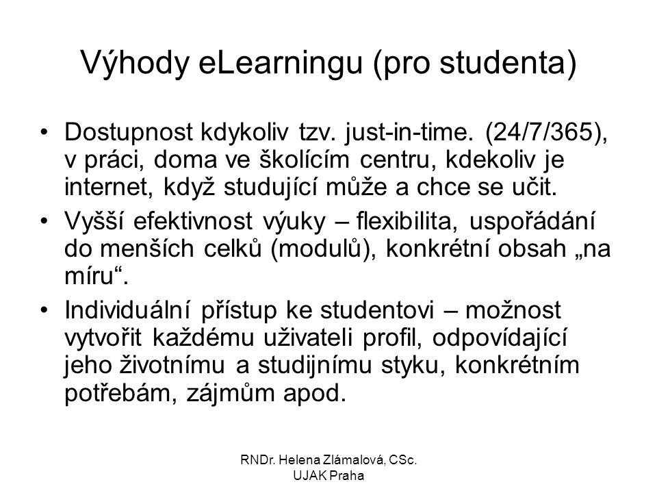 Výhody eLearningu (pro studenta)