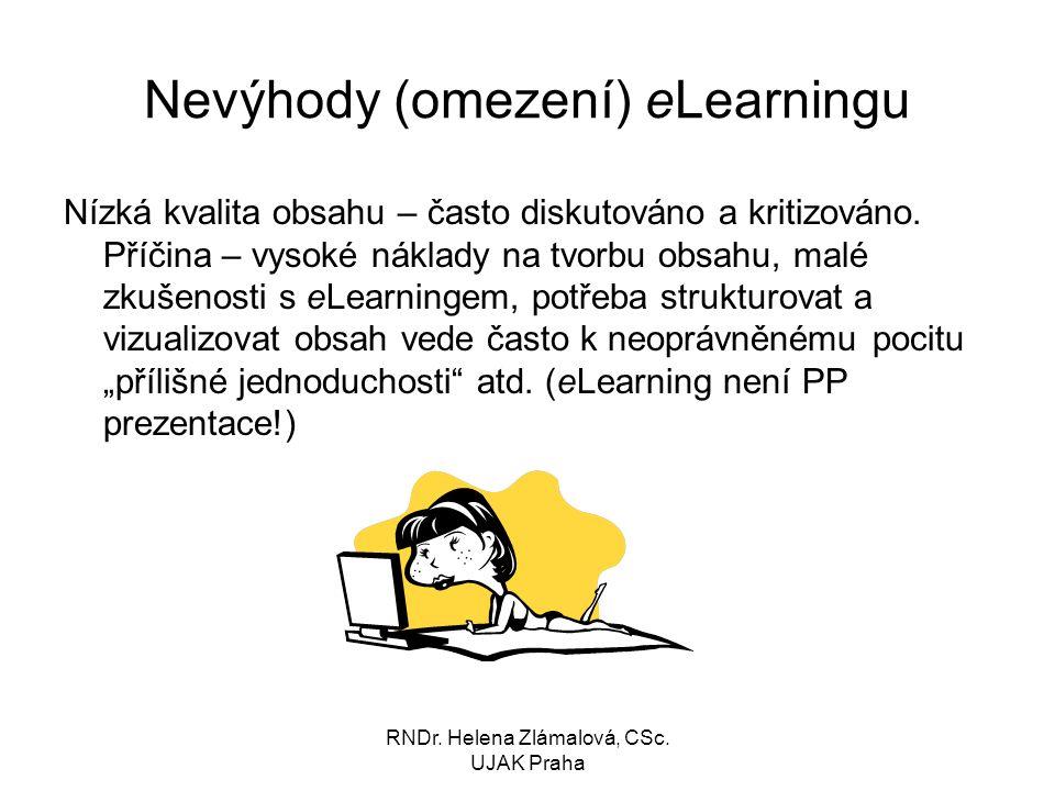 Nevýhody (omezení) eLearningu