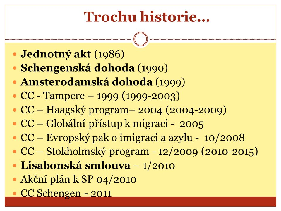 Trochu historie… Jednotný akt (1986) Schengenská dohoda (1990)