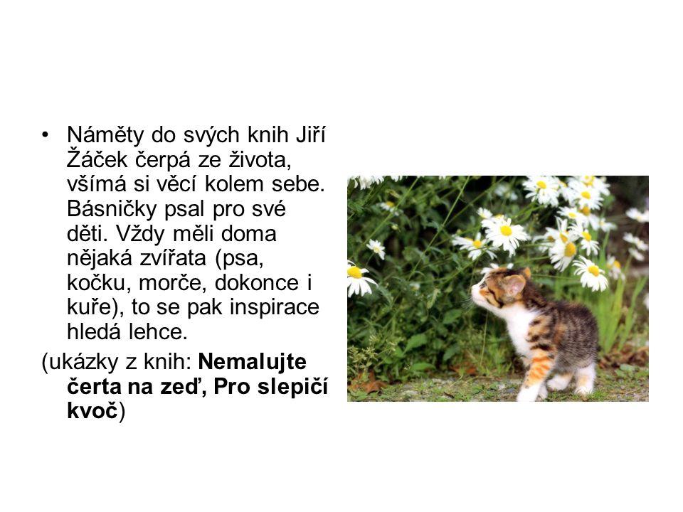 Náměty do svých knih Jiří Žáček čerpá ze života, všímá si věcí kolem sebe. Básničky psal pro své děti. Vždy měli doma nějaká zvířata (psa, kočku, morče, dokonce i kuře), to se pak inspirace hledá lehce.