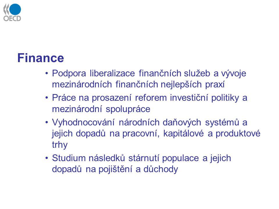 Finance Podpora liberalizace finančních služeb a vývoje mezinárodních finančních nejlepších praxí.