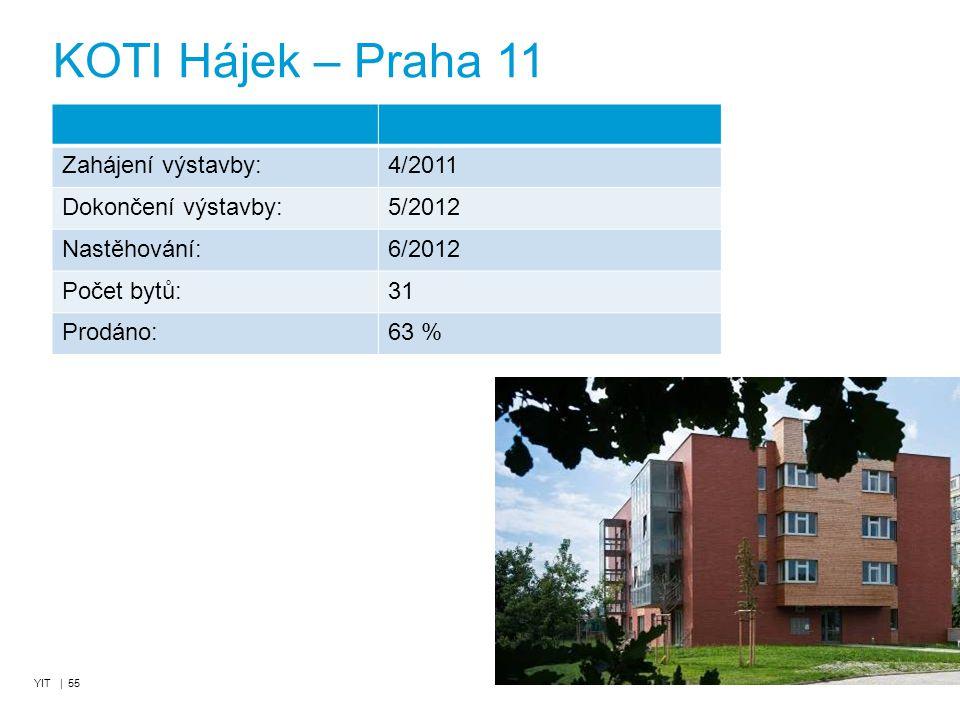 KOTI Hájek – Praha 11 Zahájení výstavby: 4/2011 Dokončení výstavby: