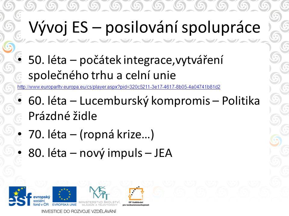 Vývoj ES – posilování spolupráce