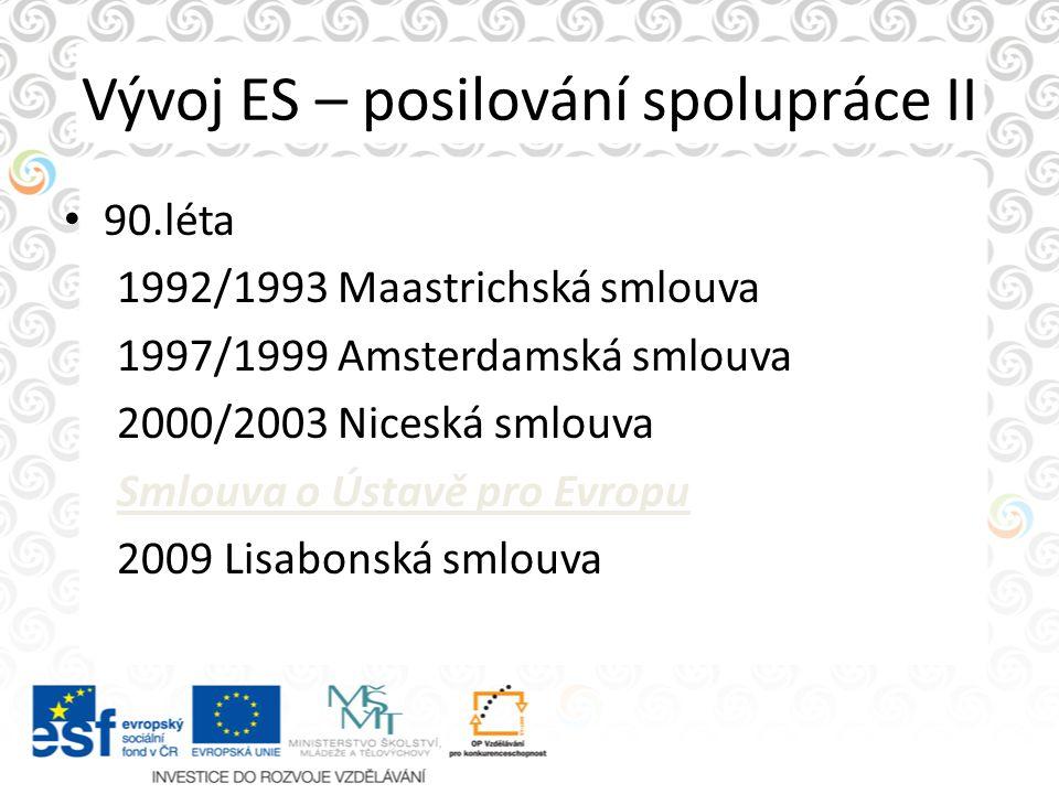 Vývoj ES – posilování spolupráce II
