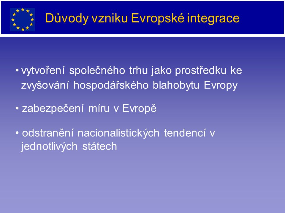 Důvody vzniku Evropské integrace