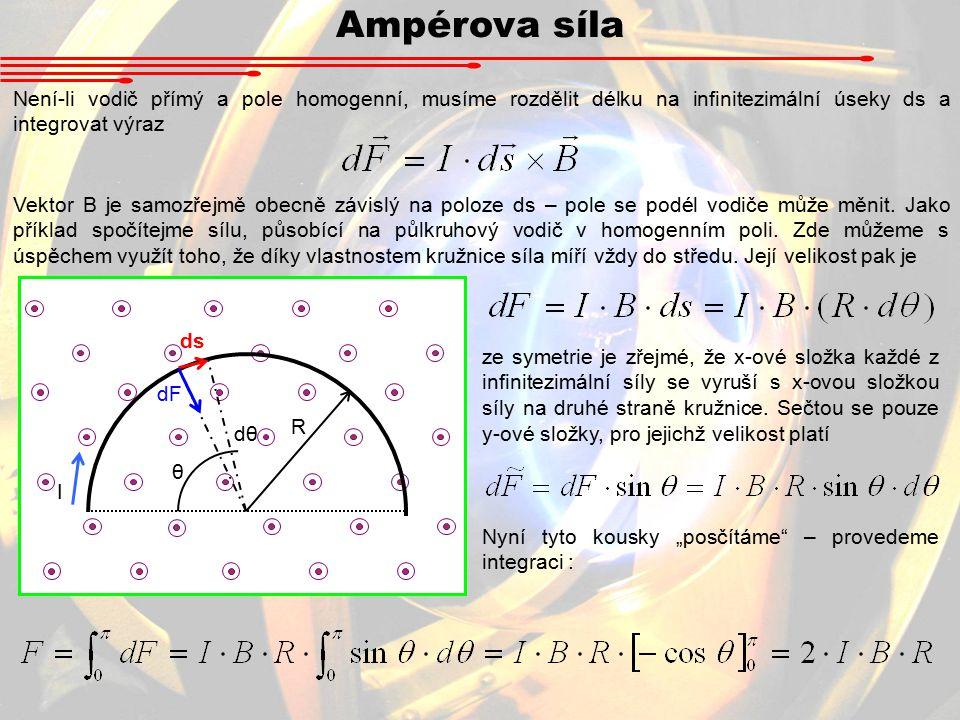 Ampérova síla Není-li vodič přímý a pole homogenní, musíme rozdělit délku na infinitezimální úseky ds a integrovat výraz.