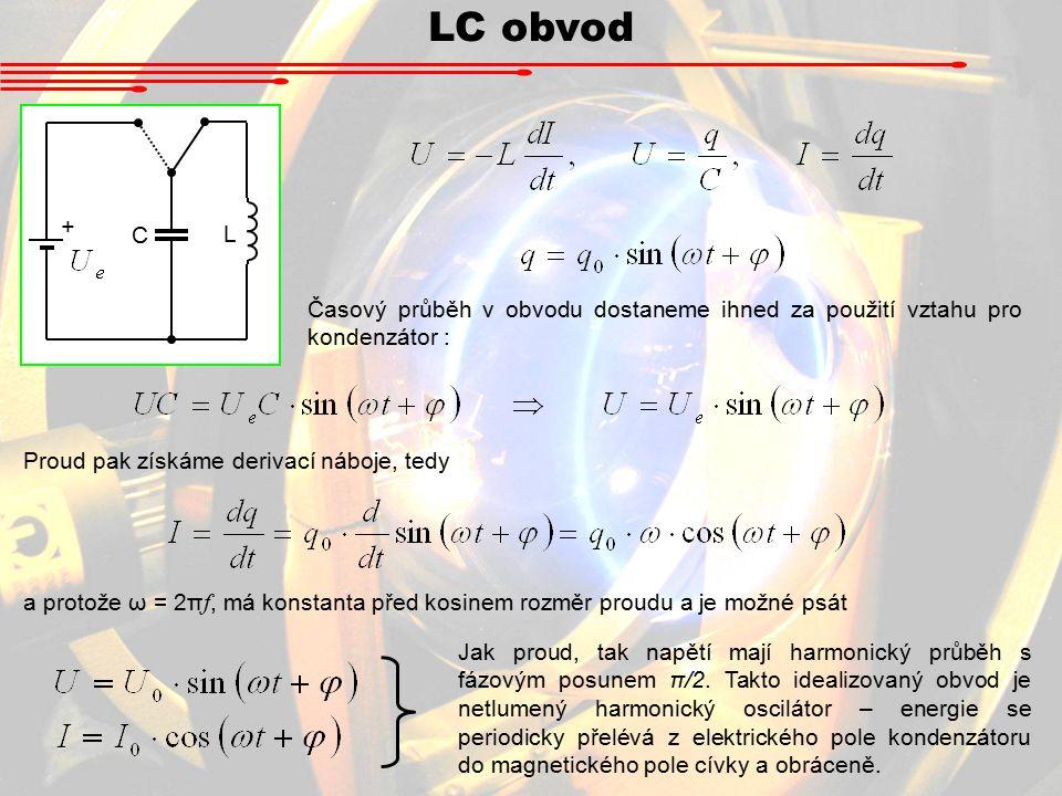 LC obvod + L. C. Časový průběh v obvodu dostaneme ihned za použití vztahu pro kondenzátor : Proud pak získáme derivací náboje, tedy.