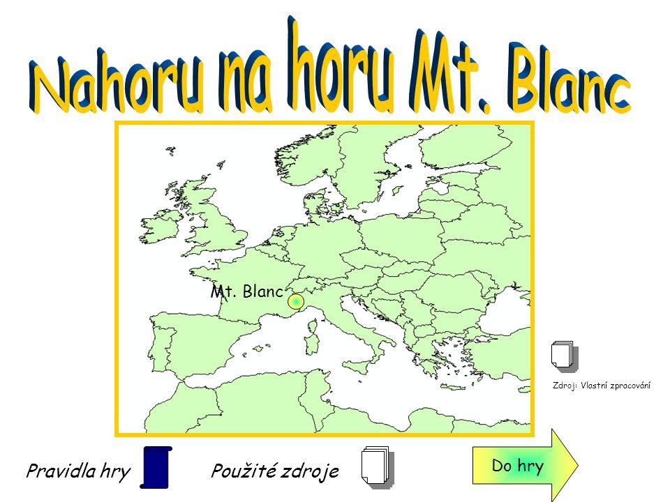 Nahoru na horu Mt. Blanc Pravidla hry Použité zdroje Mt. Blanc Do hry