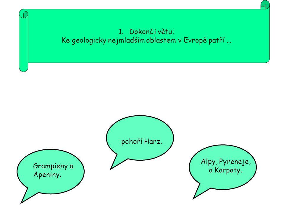 Ke geologicky nejmladším oblastem v Evropě patří …