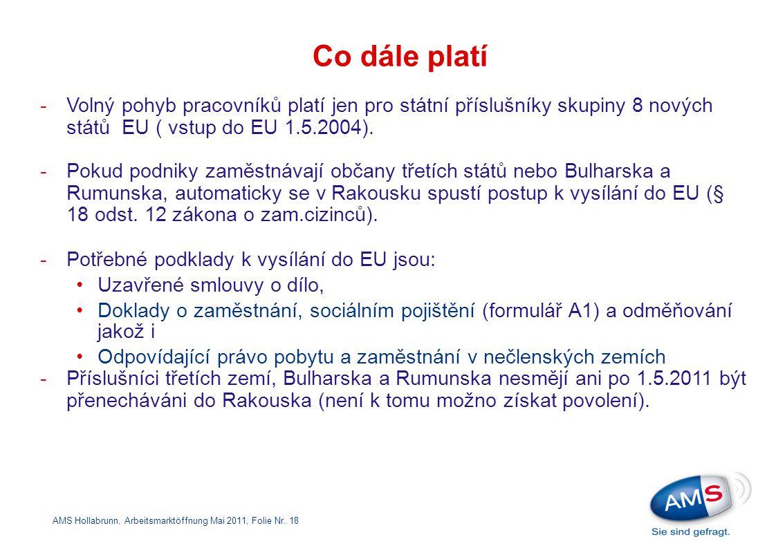 Co dále platí Volný pohyb pracovníků platí jen pro státní příslušníky skupiny 8 nových států EU ( vstup do EU 1.5.2004).