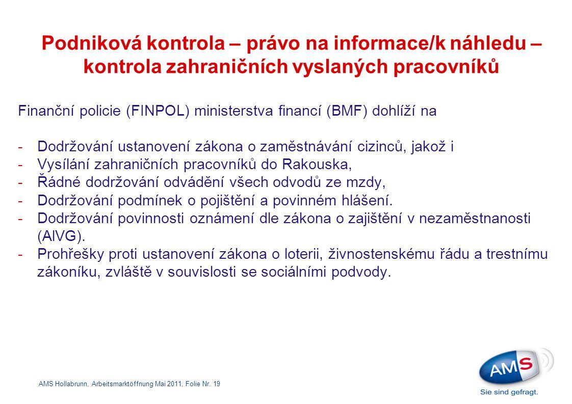 Podniková kontrola – právo na informace/k náhledu – kontrola zahraničních vyslaných pracovníků