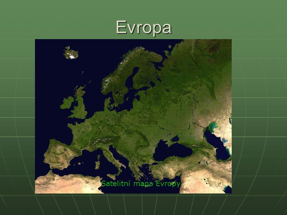 Evropa Satelitní mapa Evropy
