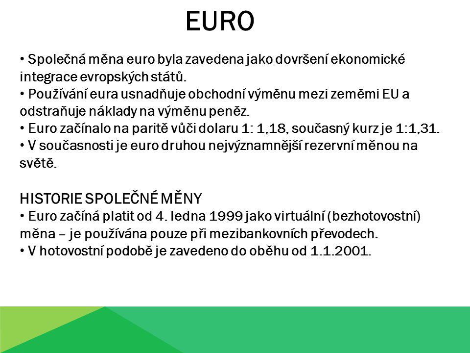 EURO HISTORIE SPOLEČNÉ MĚNY
