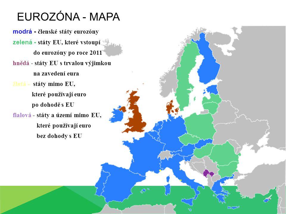 EUROZÓNA - MAPA modrá - členské státy eurozóny