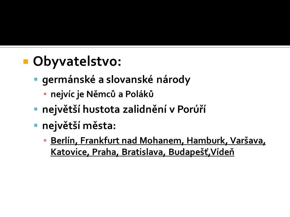 Obyvatelstvo: germánské a slovanské národy