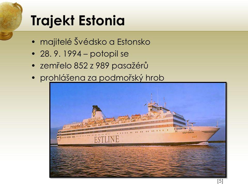 Trajekt Estonia majitelé Švédsko a Estonsko 28. 9. 1994 – potopil se
