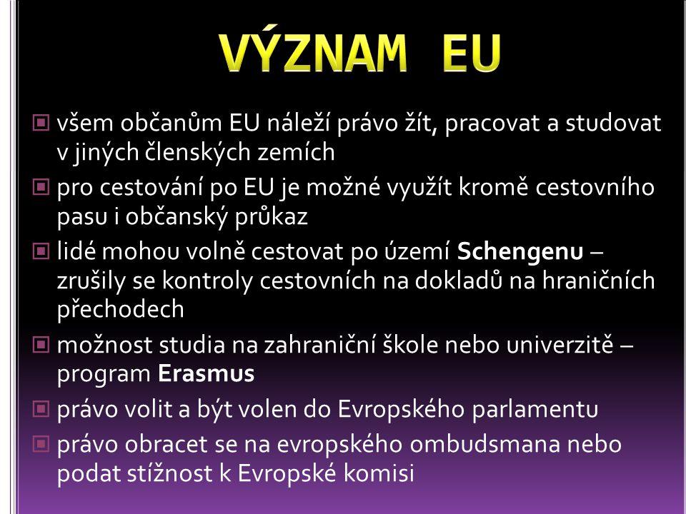 VÝZNAM EU všem občanům EU náleží právo žít, pracovat a studovat v jiných členských zemích.