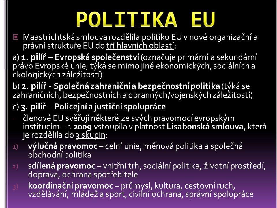 POLITIKA EU Maastrichtská smlouva rozdělila politiku EU v nové organizační a právní struktuře EU do tří hlavních oblastí: