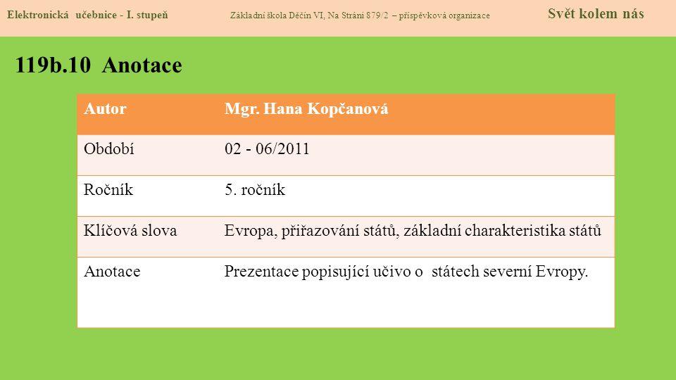 119b.10 Anotace Autor Mgr. Hana Kopčanová Období 02 - 06/2011 Ročník