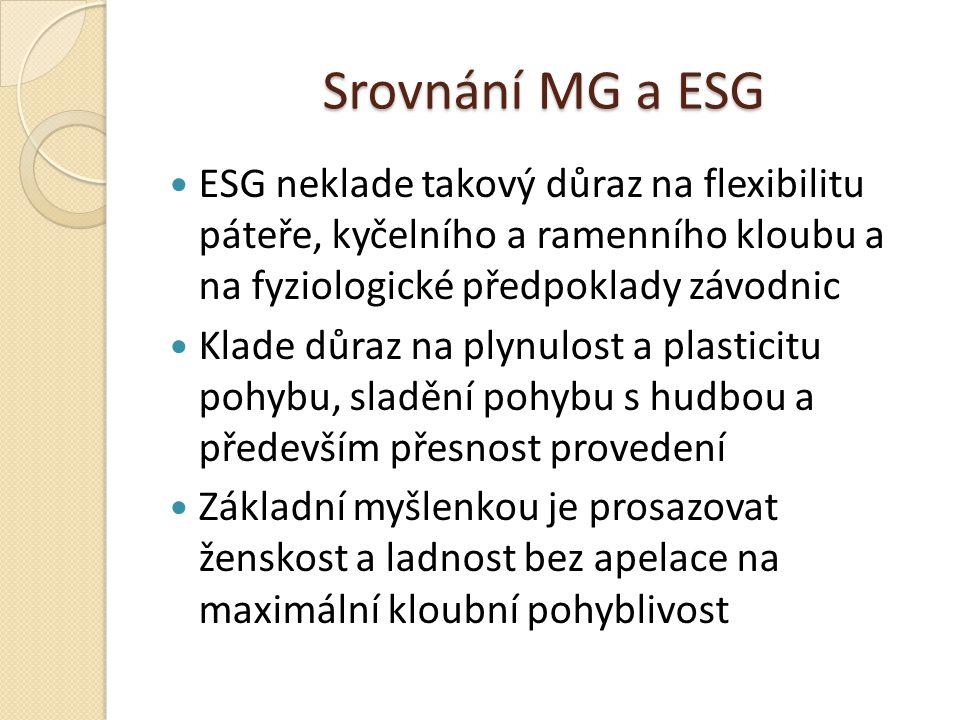 Srovnání MG a ESG ESG neklade takový důraz na flexibilitu páteře, kyčelního a ramenního kloubu a na fyziologické předpoklady závodnic.