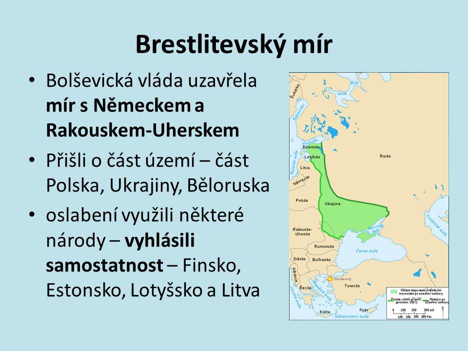 Brestlitevský mír Bolševická vláda uzavřela mír s Německem a Rakouskem-Uherskem. Přišli o část území – část Polska, Ukrajiny, Běloruska.