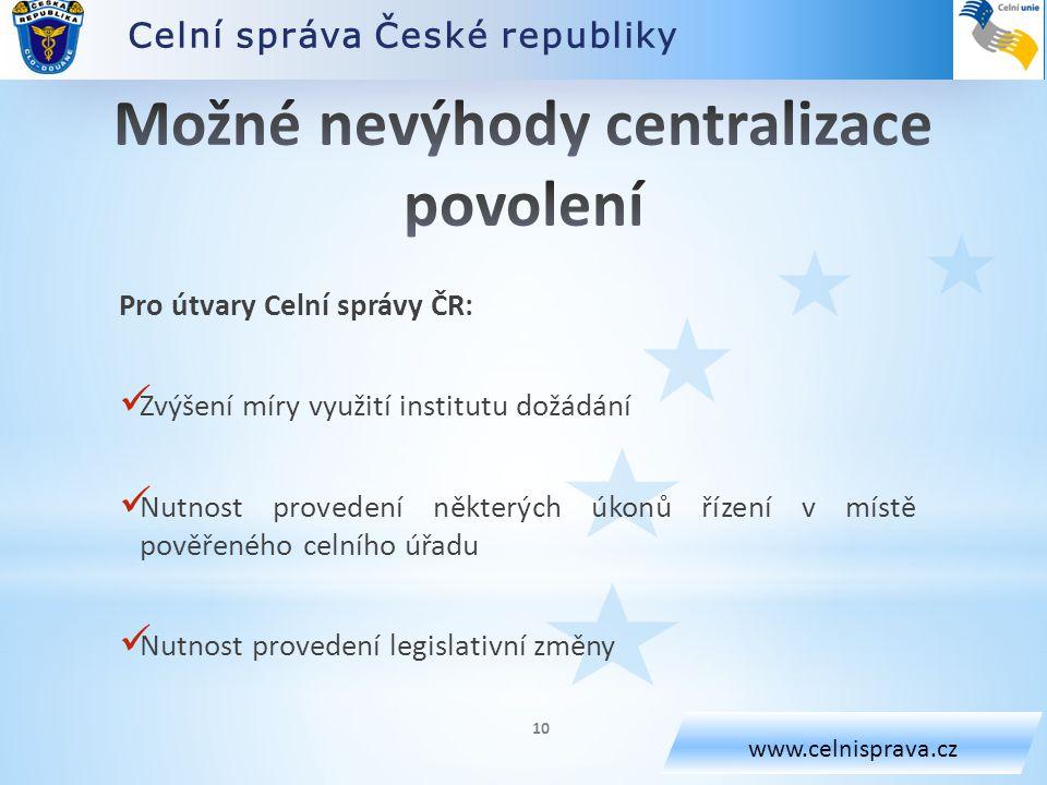Možné nevýhody centralizace povolení