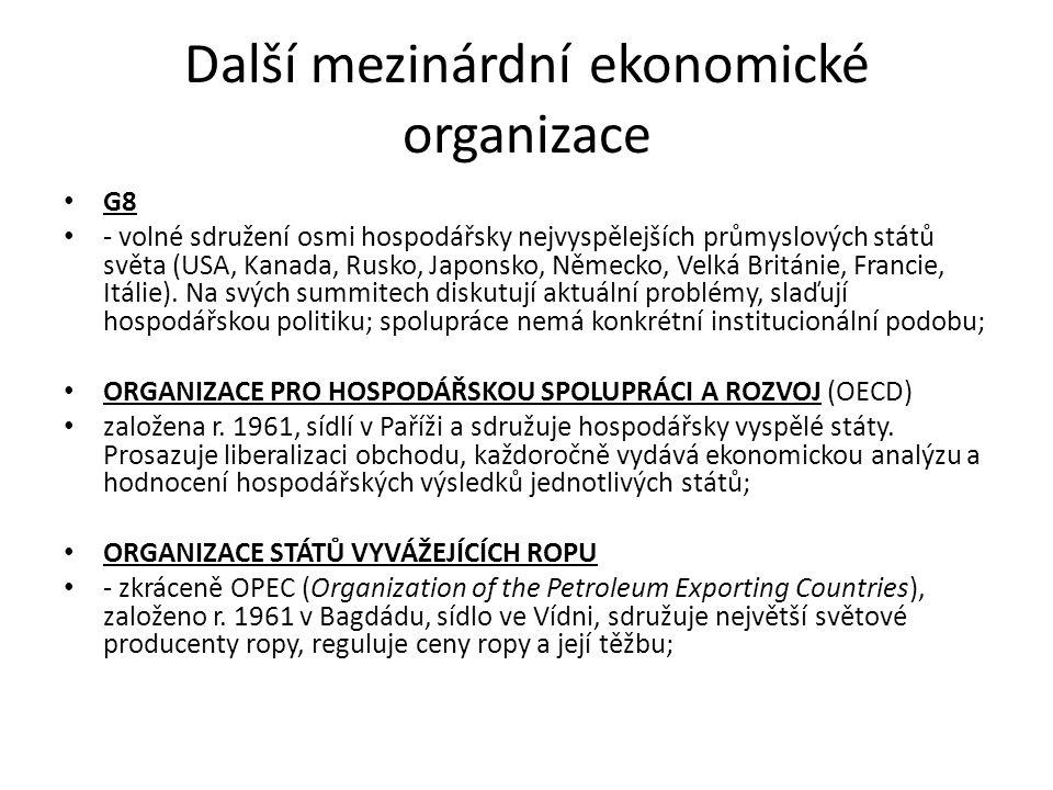 Další mezinárdní ekonomické organizace