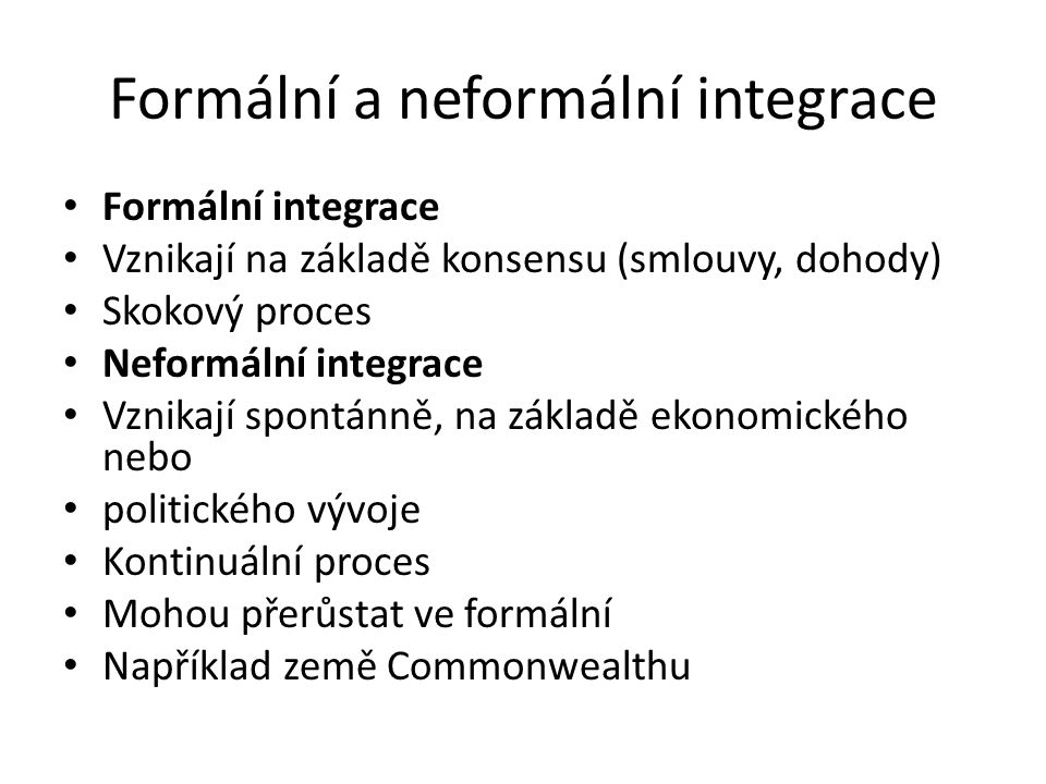 Formální a neformální integrace