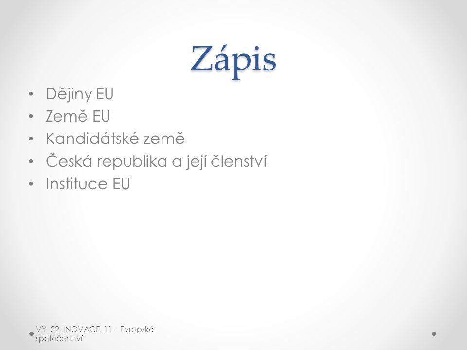 Zápis Dějiny EU Země EU Kandidátské země