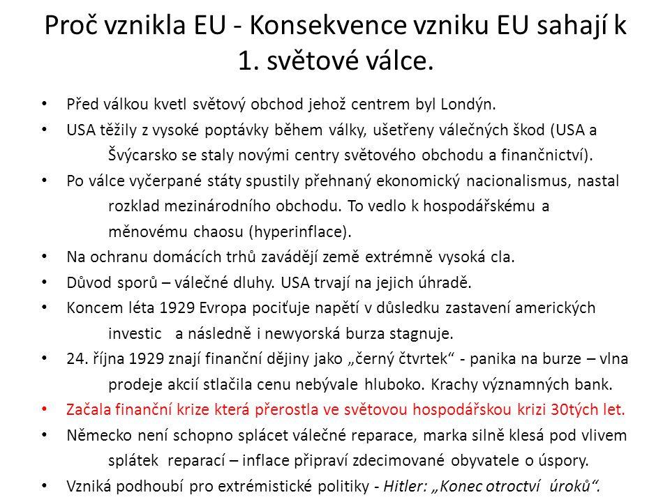 Proč vznikla EU - Konsekvence vzniku EU sahají k 1. světové válce.