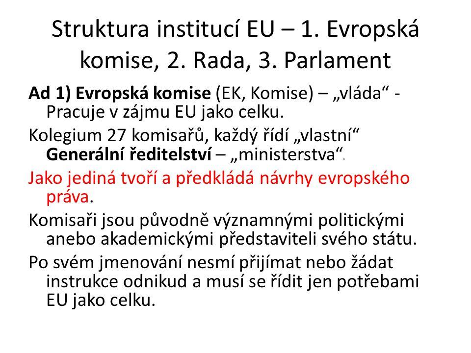 Struktura institucí EU – 1. Evropská komise, 2. Rada, 3. Parlament