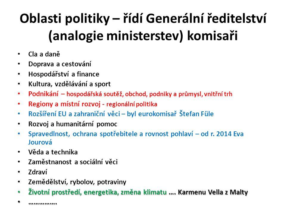 Oblasti politiky – řídí Generální ředitelství (analogie ministerstev) komisaři