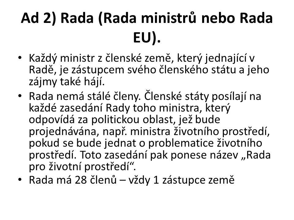Ad 2) Rada (Rada ministrů nebo Rada EU).