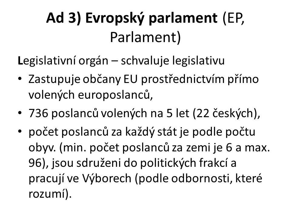 Ad 3) Evropský parlament (EP, Parlament)