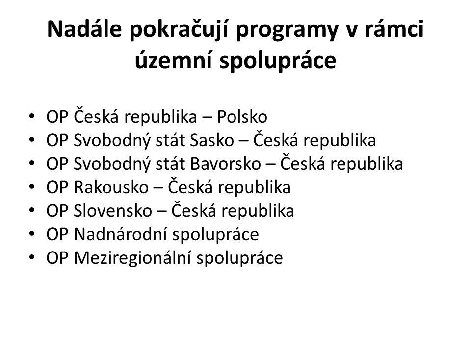 Nadále pokračují programy v rámci územní spolupráce