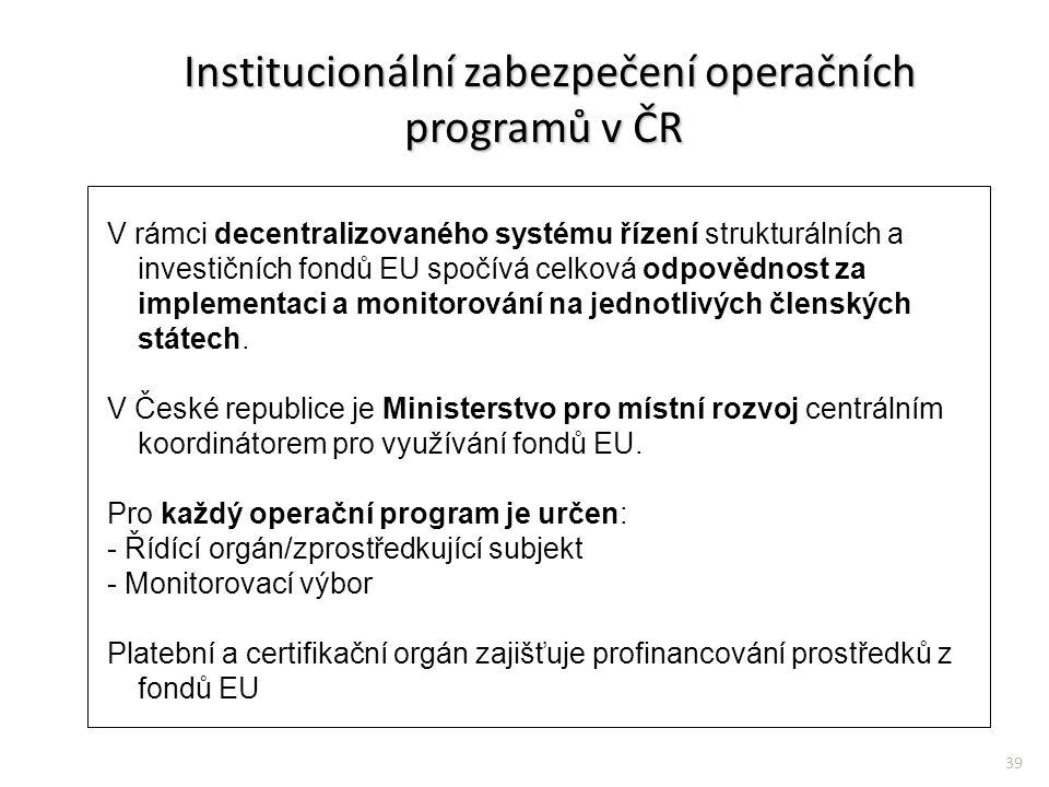 Institucionální zabezpečení operačních programů v ČR