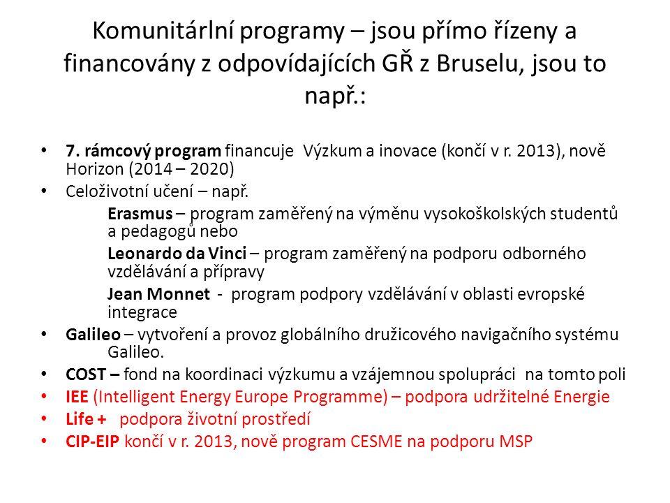 Komunitárlní programy – jsou přímo řízeny a financovány z odpovídajících GŘ z Bruselu, jsou to např.:
