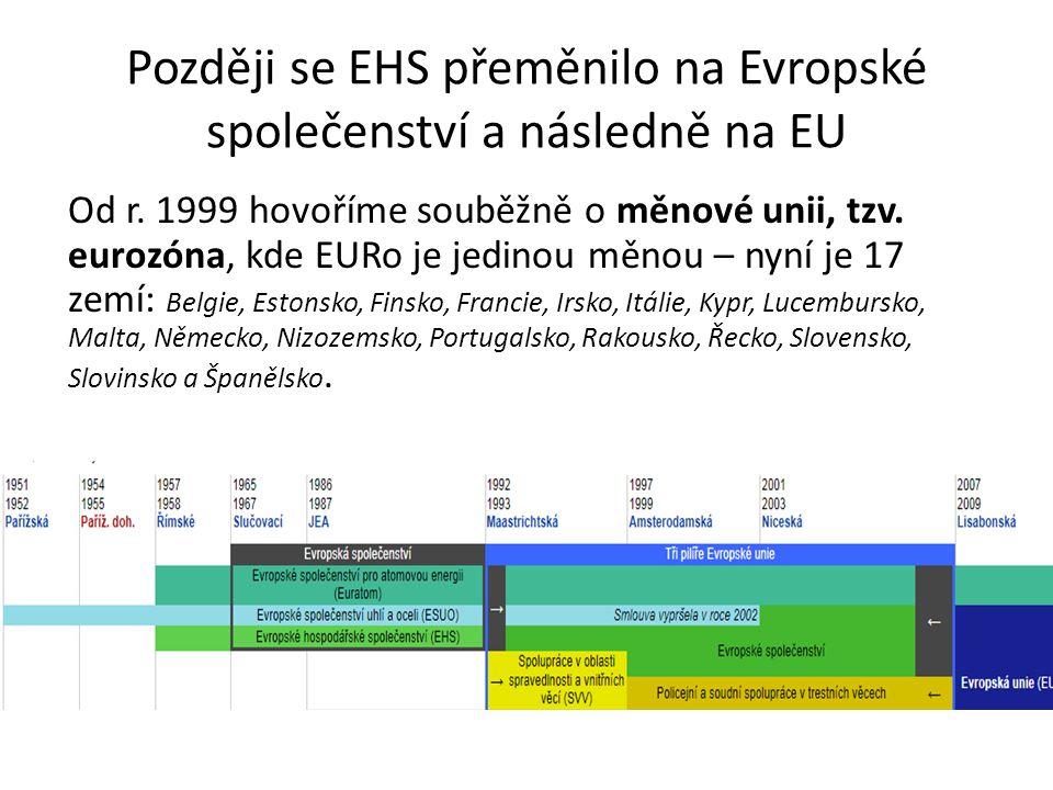 Později se EHS přeměnilo na Evropské společenství a následně na EU